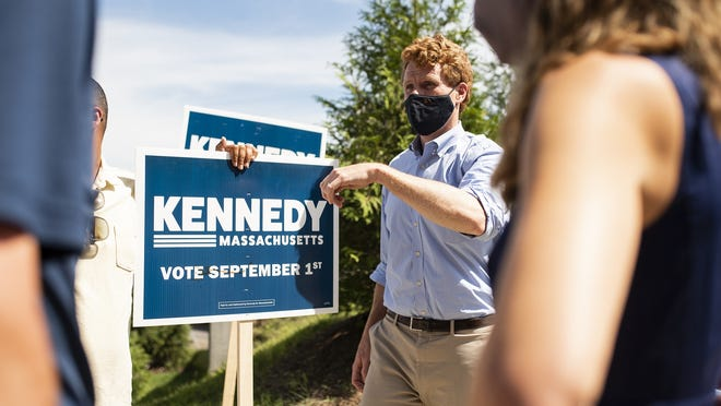 U.S. Rep. Joe Kennedy makes a campaign stop at Nelson Place Elementary School in Worcester on Tuesday.