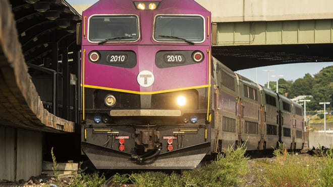 An MBTA commuter rail train arrives at Worcestesr's Union Station on Wednesday.