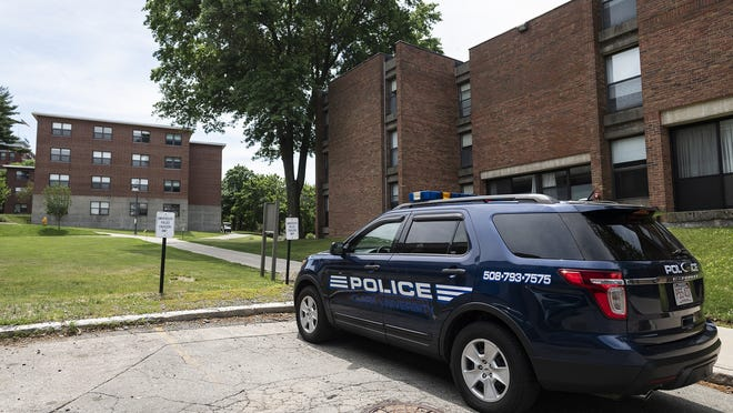 A Clark University police vehicle is parked on campus Wednesday.