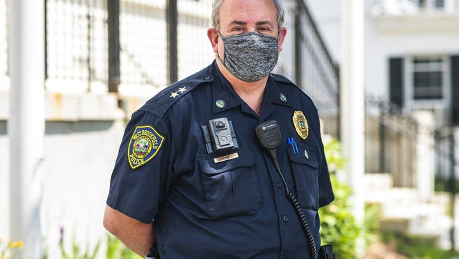 West Brookfield Police Chief C. Thomas O'Donnell wears his body cam above the right pocket of his uniform Thursday.