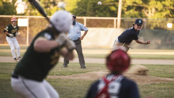 Double Play's Joe Valone delivers a pitch against Grafton during a Paul N. Johnson Senior Ruth game at Tivnan Field.