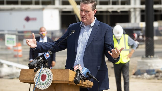 Worcester City Manager Edward Augustus Jr.  speaks during a topping off ceremony at Polar Park in Worcester, Thursday.