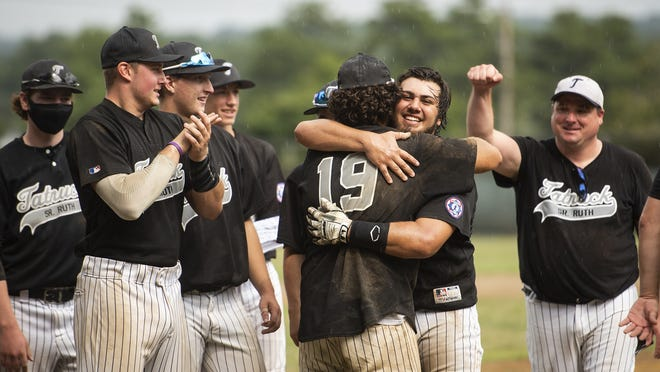 Tatnuck celebrates after beating Grafton in the PNJ Senior Ruth championship game on Saturday at Tivnan Field in Worcester.