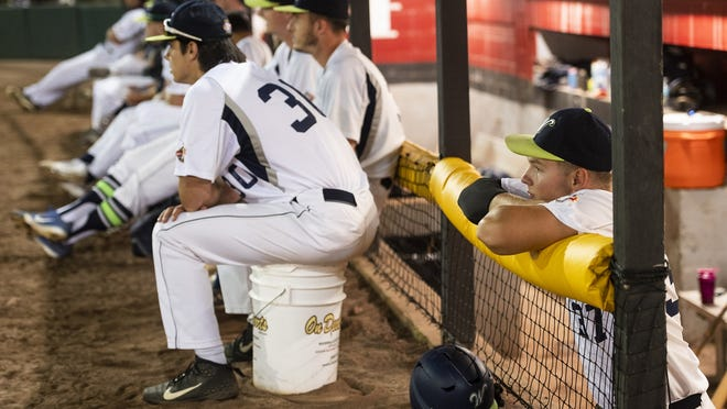 Members of the Worcester Bravehearts look on during action Thursday night. On Friday, they dropped Game 2 of the Futures Collegiate Baseball League Championship Series to the Nashua Silver Knights, who tied the best-of-three series to force Saturday's decisive Game 3.