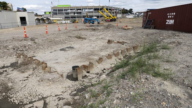 Polar Park as viewed from the south side of Madison Street. Private development on the property south of Madision Street has been delayed because of the pandemic.