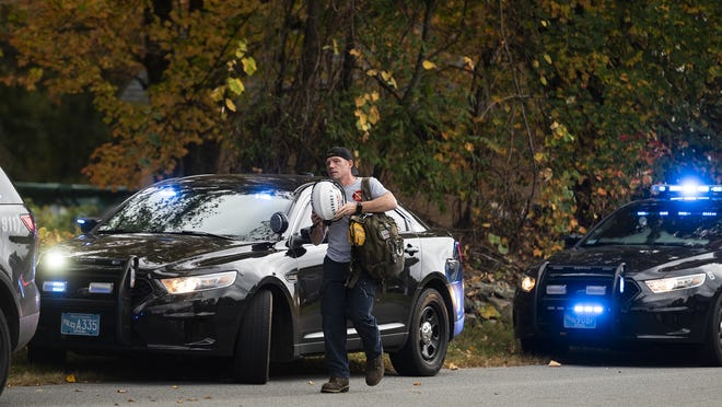 SUTTON - Technical rescue teams arrive at Leland Hill Road in Sutton after reports of an excavator trapping a person shortly after 4:30 p.m. on Tuesday, September 29, 2020.