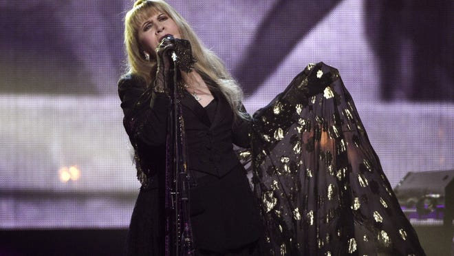 "Stevie Nicks performs at the Rock & Roll Hall of Fame induction ceremony in New York on March 29, 2019. Nicks has spent the last 10 months homebound, mainly due to the coronavirus pandemic. During that time, she recorded the new single ""Show Them the Way"" and edited her new concert film ""Stevie Nicks 24 Karat Gold The Concert."""