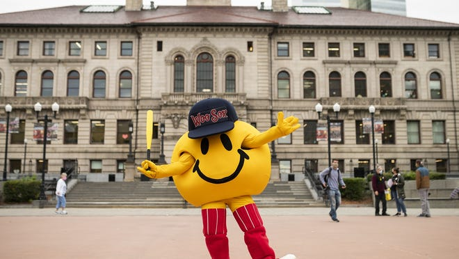 WooSox mascot Smiley Ball  outtside City Hall.