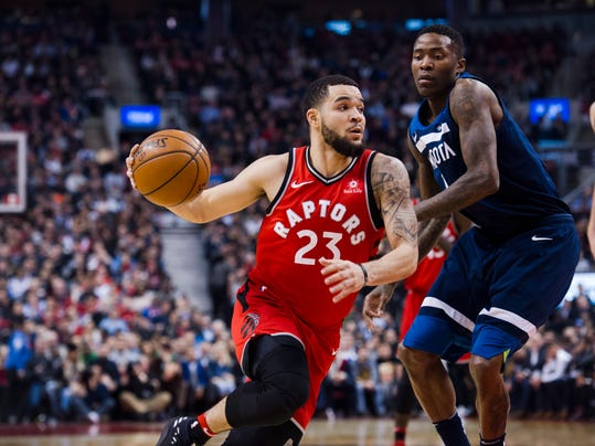 Toronto Raptors guard Fred VanVleet (23) drives to the net against the Minnesota Timberwolves during the first half of an NBA basketball game, Tuesday, Jan. 30, 2018 in Toronto. (Christopher Katsarov/The Canadian Press via AP)