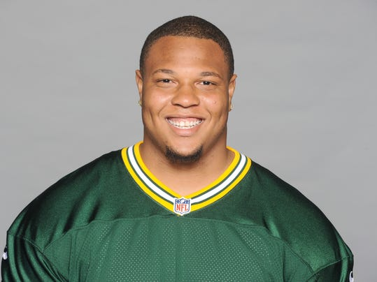 FILE - This is a 2014, file photo showing Jerel Worthy of the Green Bay Packers NFL football team. The New England Patriots have acquired injured lineman Jerel Worthy from the Packers in a trade pending a physical for the defensive end. Worthy's agent, Chafie Fields, says Wednesday, Aug. 13, 2014,  that the deal was conditional. (AP Photo/File)