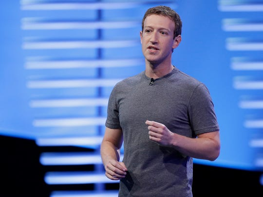 Facebook CEO Mark Zuckerberg speaks during the keynote