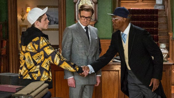"""Kingsman: The Secret Service"" stars (from left) Taron Egerton, Colin Firth and Samuel L. Jackson."