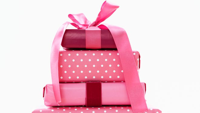 Gifts in pink wrapping paper.
