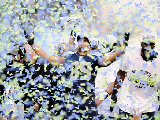 Wholesale NFL Nike Jerseys - Seahawks Jon Ryan does 'the belt' celebration at Mike McCarthy