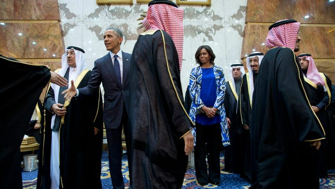 President Obama and first lady Michelle Obama in receiving line with new Saudi Arabian King Salman in Riyadh, Jan. 27.
