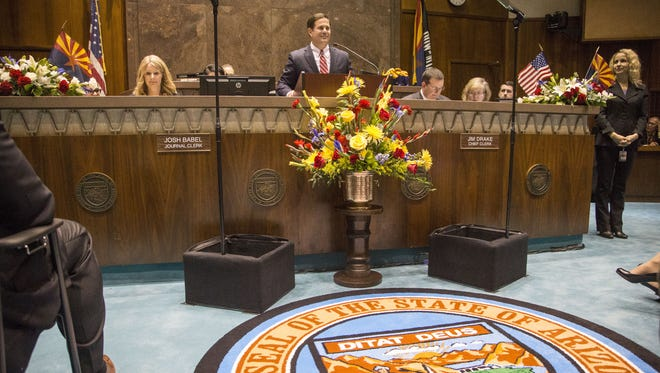"""In his State of the State address, Gov. Doug Ducey called on cities """"to put the brakes on ill-advised plans to create a patchwork of different wage and employment laws,"""" saying doing so would harm the Arizona economy."""