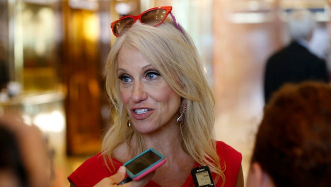 Kellyanne Conway, new campaign manager for Republican presidential candidate Donald Trump, speaks to reporters in the lobby of Trump Tower in New York on Aug. 17, 2016.