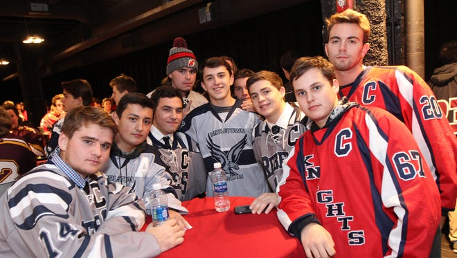 The New Jersey Devils honor High School Hockey Captains at Prudential Center on Tuesday, October 25, 2016.
