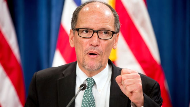 In this June 22 file photo, Labor Secretary Thomas Perez speaks at a news conference at the Treasury Department in Washington. A federal court on Tuesday blocked implementation of a rule that would have made an estimated 4 million more America workers eligible for overtime pay starting Dec. 1, dealing a major blow to the Obama Administration's effort to beef up labor laws it said weren't keeping pace with the times.