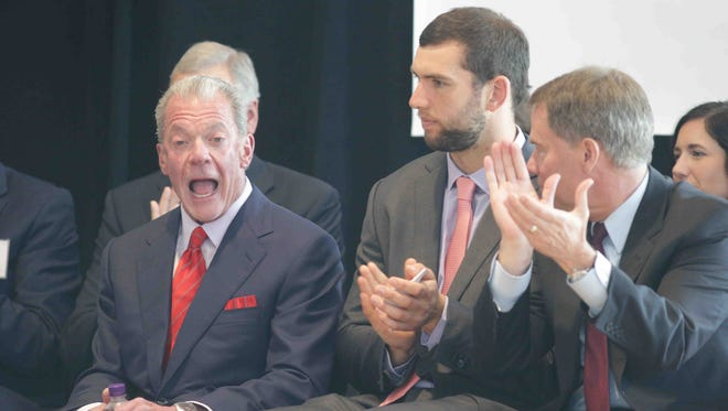 """Left to right, Indianapolis Colts Owner Jim Irsay, Colts QB Andrew Luck, and Indianapolis Mayor Joe Hogsett were on hand to announce a multi-million-dollar donation to the CityWay YMCA, from the Irsay family, Tuesday September 13th, 2016. The CityWay YMCA will be renamed the """"Irsay Family YMCA""""."""