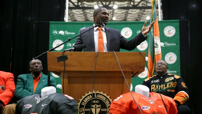 FAMU's new Head Football Coach Willie Simmons speaks at a press conference held at the Al Lawson Center Tuesday, Dec 12.