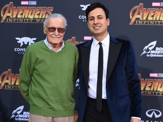 Stan Lee with Keya Morgan, right, who was charged Monday with five counts of elder abuse of the Marvel Comics icon, who died in November.