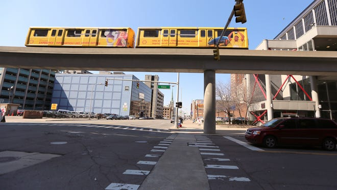 People Mover approaches the Fort and Cass station in Detroit on Friday, April 24, 2015.
