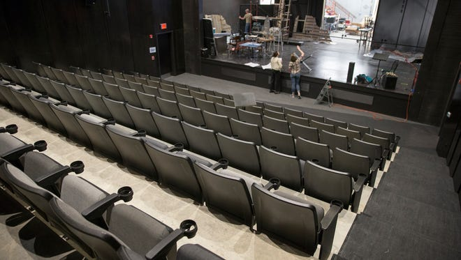 Seats in the Russell, a 144-seat proscenium theater at the Phoenix Theater Cultural Center, newly built at the corner of West Walnut and North Illinois streets, Indianapolis, Friday, April 27, 2018.