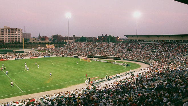 How Frontier Field looked on July 12, 1996, the night of the first Rhinos' match there. A crowd of 14,717 watched Rochester rally in the second half to beat Montreal, 3-2. Notice the baseball diamond hadn't been configured yet because the Red Wings didn't start play there until 1997.