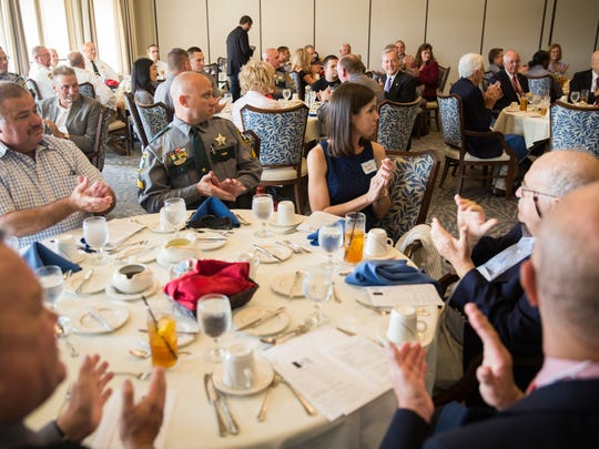 Guests sat down for a luncheon during the First Responder Awards, hosted by The Naples Chapter Sons of the American Revolution in Naples on Thursday, Nov. 9, 2017.