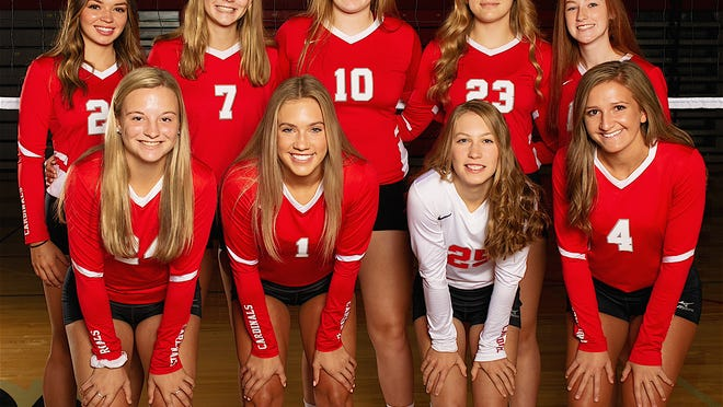 Returning letter winners for the 2020 Sandy Valley volleyball team are (front row, left to right) Tori Sickafoose, Gracie Fryer, Hannah Petersen and Abigail Streamo; and (back row) Andrea Frank, Amber Ward, Abbey Parker, Jordan Parker and Joey Boyer.