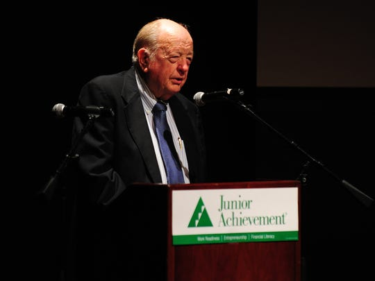 "Acadiana businessman J. Hubert ""Red"" Dumesnil accepts the UL-Lafayette B.I. Moody, III College of Business award during the Junior Achievement of Acadiana's Business Hall of Fame ceremony at the Acadiana Center for the Arts in Lafayette, LA, May 7, 2013.