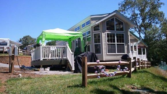 Judith Johnson's tiny cabin home in Moneta next to