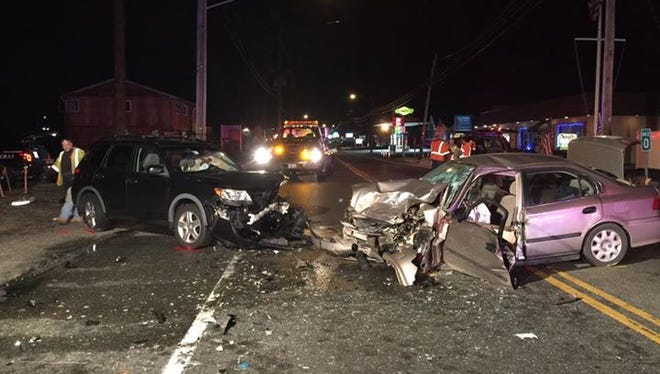Beachwood police responded to a two-car crash Wednesday night on Route 166.