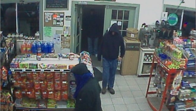 Vermont State Police seek these three men in connection with the robbery Champlain Beverage in Leicester on Saturday night.
