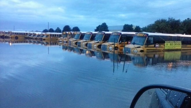 The current bus facility for the Waukee Community School District has been subjected to major flooding on more than one occasion.