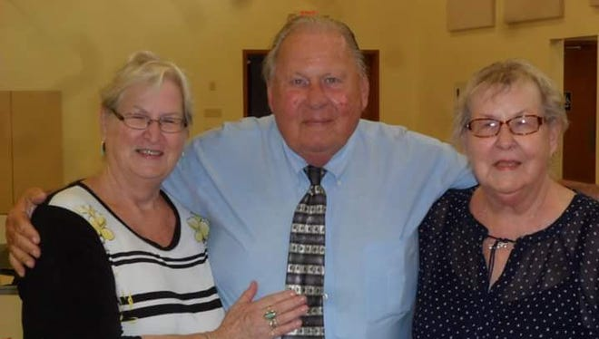 Former professional wrestler Danny Miller died Tuesday while in hospice care in Tampa, Florida. He is pictured here with sisters Mary Ann Isabelle (left) and Janice Frye while visiting Fremont two years ago.