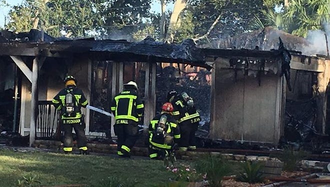 A fire destroyed a home on Westchester Drive in Cocoa Aug. 21, 2017.