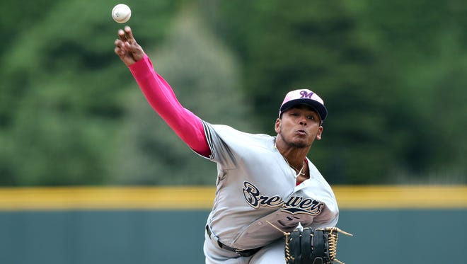Brewers starting pitcher Freddy Peralta allowed just one hit while striking out 13 and walking two in 5 2/3 innings Sunday afternoon in his MLB debut against the Colorado Rockies.