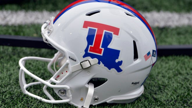 General overall view of Louisiana Tech Bulldogs helmet on the sidelines during the first half of the CUSA championship game against the Western Kentucky Hilltoppers at Houchens Industries-L.T. Smith Stadium. Mandatory Credit: Jim Brown-USA TODAY Sports