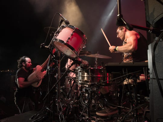 West Chester's Brian Bagosy plays drums on stage at