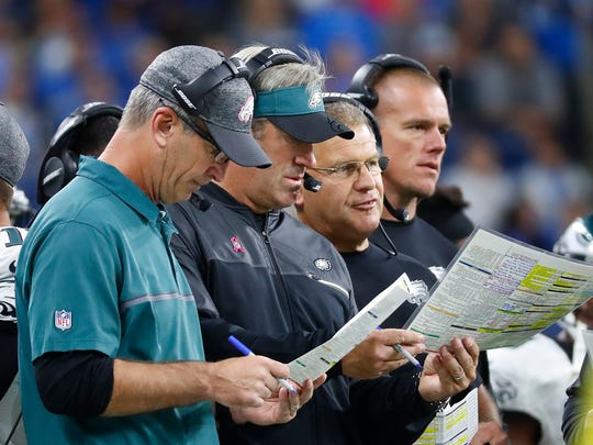 Frank Reich, far left, was the Eagles offensive coordinator in 2016 and 2017.
