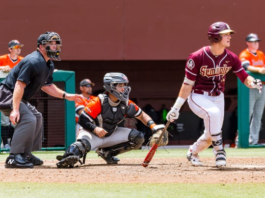 Florida State sophomore Jackson Lueck went 5-for-7 with five RBI's throughout this weekend's Tallahassee Super Regional at Dick Howser Stadium.