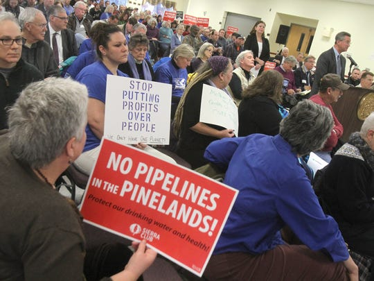 Robert Fatzinger, Senior Vice President of Engineering Services and System Integrity at South Jersey Gas, speaks Tuesday, January 24, 2017, during the public portion of the Pinelands Commission meeting on the proposed natural gas pipeline that would cut through the Pinelands.  The meeting was held at St. Ann's Catholic Church in Browns Mill.