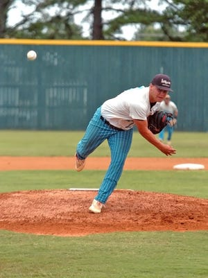 Lockeroom's Hunter Wojcik delivers a pitch during a recent game at Paragould.