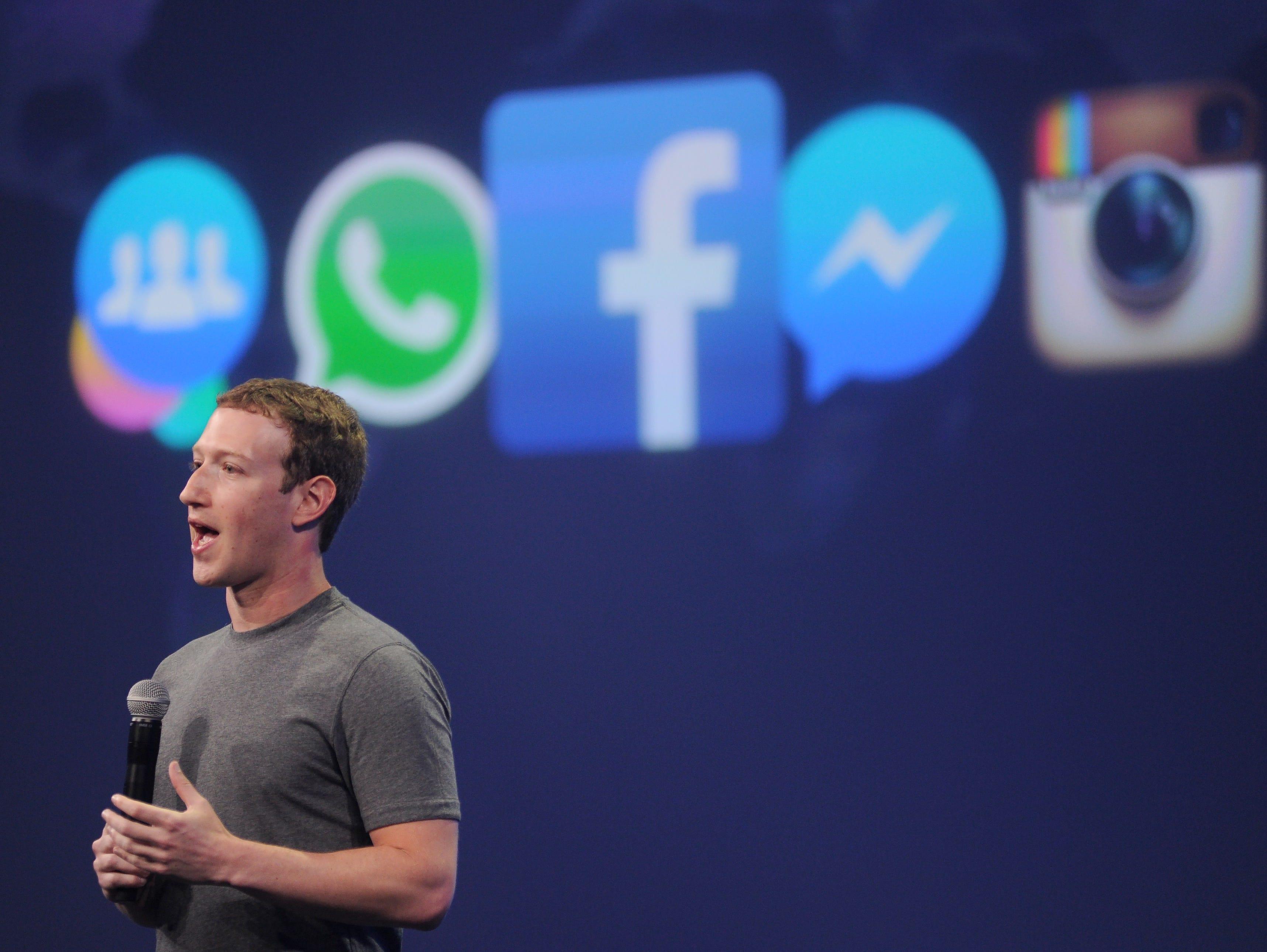 Facebook CEO Mark Zuckerberg speaks at the F8 summit in San Francisco.
