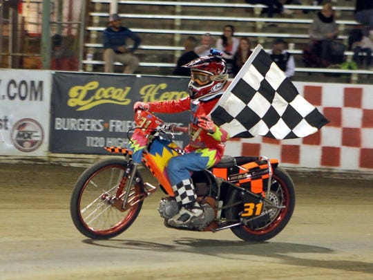 Salinas' Sterling Martin after winning in May. Martin won the AMA Youth National Championship.