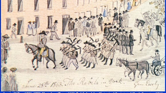 Lewis Miller captures the Confederates marching into York's Centre Square.