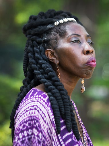 Marquetta Goodwine, also known as Queen Quet, cheiftess of the Gullah-Geechee Nation, is pictured at an outdoor market on St. Helena Island on Saturday, April 15, 2017.