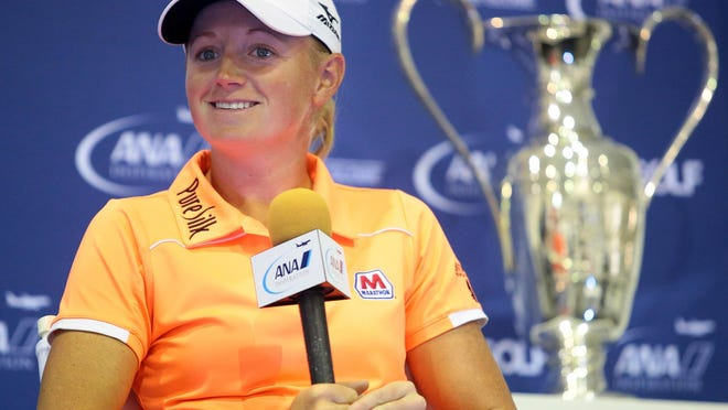 2011 winner Stacy Lewis talks about her fondness for playing in major championships during a press conference at the ANA Inspiration on Wednesday, April 1, 2015 at Mission Hills Country Club in Rancho Mirage, Calif.